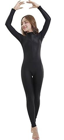 Speerise Adult Lycra Spandex Long Sleeve Turtleneck Unitard Bodysuit, Black, M