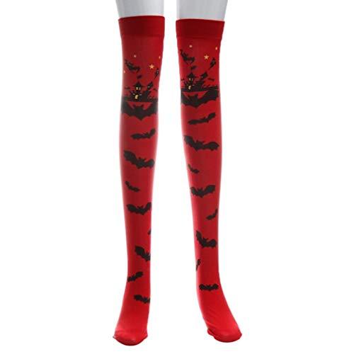 Longra 1Pc Calze Autoreggenti Stockings Sezione Spessa Calze Partito Cosplay Stampa a Pipistrello Halloween Costume, 68 cm