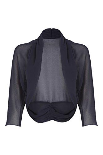 Roman Originals Damen Leicht Chiffon Bolero Marineblau - 44 - 3/4 Sleeve Floral Shirt