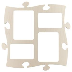 Unbekannt Rahmen Puzzle Galerie aus Holz-4Fotos 10x 15/13x 18cm-Natur