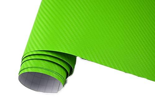 Neoxxim 4,60€/m2 Premium - Auto Folie - 3D Carbon Folie - Gift GRÜN 100 x 150 cm - blasenfrei mit Luftkanälen ca. 0,16mm dick
