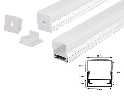 LED Alu Profil Aluminium Schiene Profilabdeckung incl. Opal -Milchig- weiß Abdeckung für Led Strips Streifen 1m Profil H