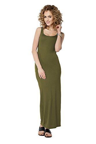 Futuro Fashion Damen Langes Top Maxi Kleid ärmellos Gesamtlänge Bodycon Plus Größen 8-18 FM18 Khaki