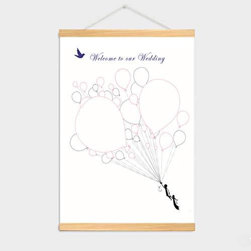 WYEING. Personalisierung Hochzeitsbaum DIY Fingerabdruck Gäste Fingerabdrücke Der Hochzeitsgäste Auf Leinwand Als Hochzeitsgästebuch (Mit Bilderrahmen),004,50 * 70cm -