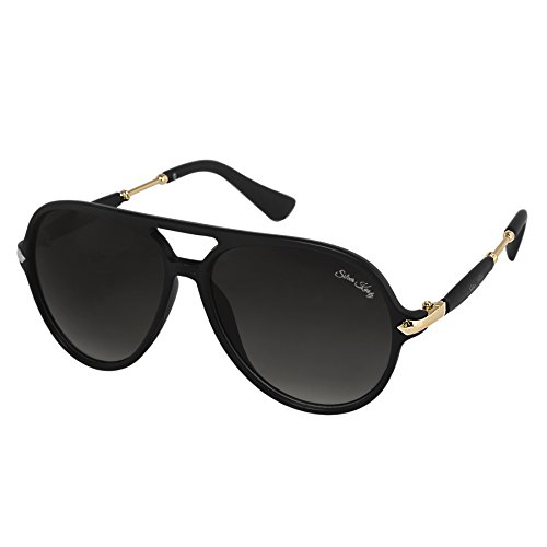 Silver Kartz Black Double Gradient Rubber Side Temple Aviator Sunglasses (wy202)