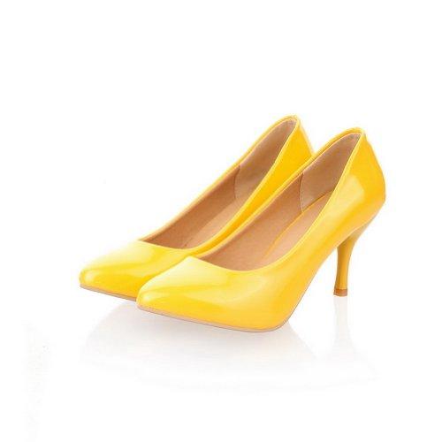 VogueZone009 donna,vernice pure scarpe coi tacchi medi,punta chiusa e tonda Giallo