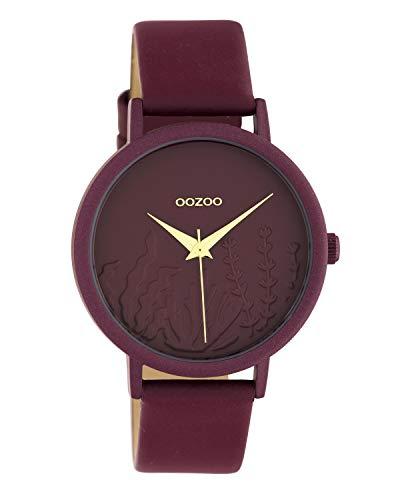 Oozoo Summer Vibes C10609 - Reloj de Pulsera para Mujer con Correa de Piel 36 mm, Color Rojo Vino
