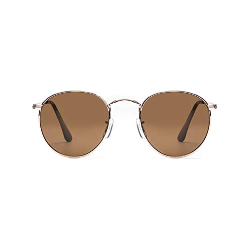 Z-ZOOM by Travel Blue John Lennon Stil Polarisierte Sonnenbrille 55053 Zeitlos Ikonisches Design Goldener Rahmen Stilvolle Unisex Designerbrille Braune Gläser