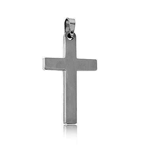 tumundo Pendentif Croix Crucifix Acier Inoxydable Pour Chaîne Collier Lisse Petit Hommes Femmes Coleur Argent Or Rosé, Couleur:argent