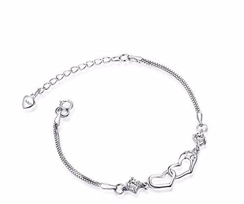 KUNQ Mode Armband/Silberne Armband Weiblich Mode Student Liebe Form Konzentrischer Schloss Gong Ling Antiken Stil Hand - Schmuck