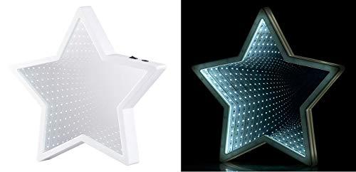 Lunartec Tunnelspiegel: Sternförmiger Unendlichkeitsspiegel, 60 weiße LEDs, batteriebetrieben (Endlosspiegel)