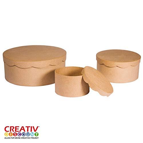 CREATIV DISCOUNT® Pappmaché Schachteln rund, 3er-Set