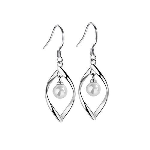 Ohrringe S925 Silber Weibliche Persönlichkeit Einfache Drehung Perlenohrringe Ohrschmuck