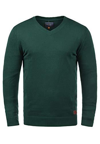 Blend Lasse Herren Strickpullover Feinstrick Pullover Mit V-Ausschnitt Und Melierung, Größe:L, Farbe:Pine Green (77023)