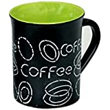 METROMART Black Matt Finish Multi Color Large Coffee Mugs(Coffee Printed) - Set Of 1, Milk Mug Set/Milk Mug Ceramic/Coffee Mugs Set Of 1/Coffee Mug Set Of 1 Black