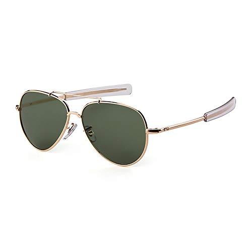 Sonnenbrille,Piloten Sonnenbrille Militärischen Tempel Kabel Spachtel Army Air Force Männer Uv 400 Sonnenbrille Gold-Grüne Linse