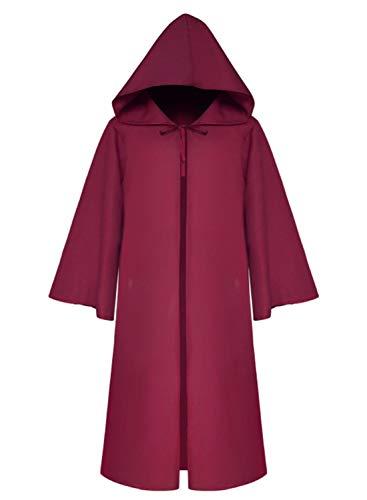 Mescara Umhang mit Kapuze Herren Mittelalter Kleidung Mantel Gotik Ritter Cape Lange Robe Halloween Kostüme Unisex Cosplay Hexe Vampir (L, Weinrot) (Kostüm Hexe Mit Cape)