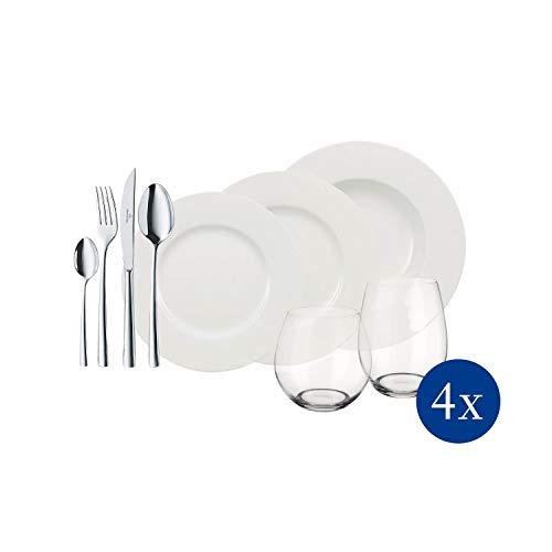 Villeroy & Boch 10-1155-9032 Set de Mesa de 36 Piezas para 4 Personas, Porcelana, Blanco, 37 x 26.5 x 39 cm