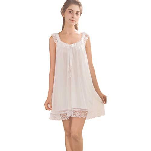 Flaydigo Damen Nachthemd Ärmellos Baumwolle mit Spitze Dekoration Nachtkleid Viktorianischer Stil Nachtwäsche (Vintage Mädchen Nachthemd)