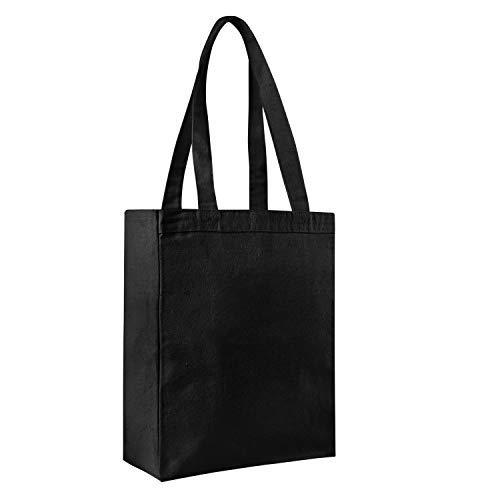 Pack von 12-schwere Canvas Einkaufstasche blanko wiederverwendbar 12oz. Dick und langlebiges Taschen mit Full Side und unten Zwickel-Buch Taschen-Geschenk Favor Tragetaschen in Bulk schwarz