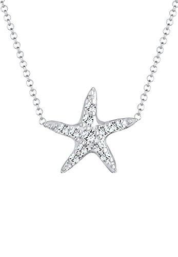 Elli Damen-Kette mit Anhänger Seestern funkelnder 925 Silber Swarovski Kristall weiß Brillantschliff - 0103652614_40 - 40cm Länge