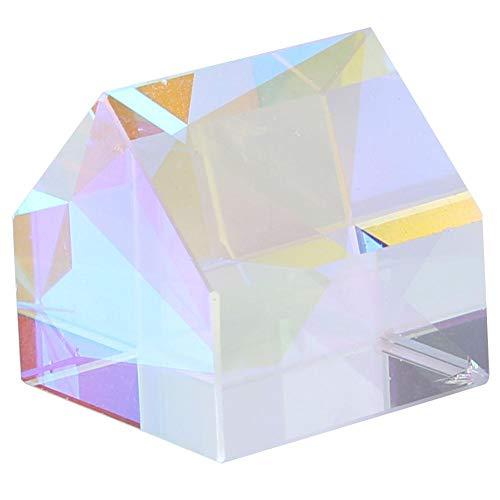Optisches Glas, Hütte und Pyramide geformt farbiges Prisma RGB-Prisma für Lehre Forschung Home Office Ornamente Dekoration Geschenk(Hüttenform)