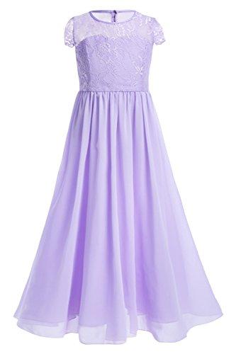 YiZYiF Festliches Mädchen Kleider Lange Brautjungfern Kleider Hochzeit Party Prinzessin Kleid Festzug Gr. 104 116 128 140 152 164 (140, Lavendel) (Prinzessin Lavendel Kostüme)