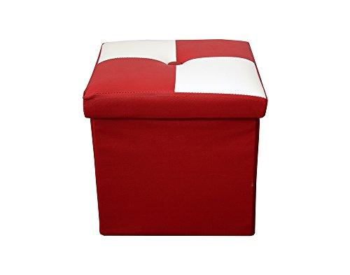Rebecca Mobili Puff Organizador Plegable Blanco Rojo Estilo Moderno Ju
