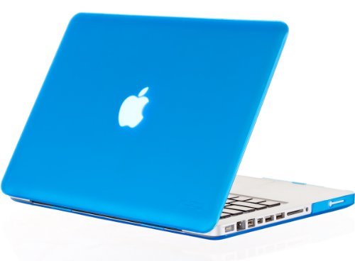 Kuzy AQUA Blue Rubberized 13-inch Hard Case Cover See Thru for Macbook Pro 13.3