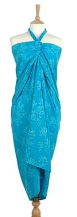 Deep Turquoise Flowers of Java Batik Sarong pareo