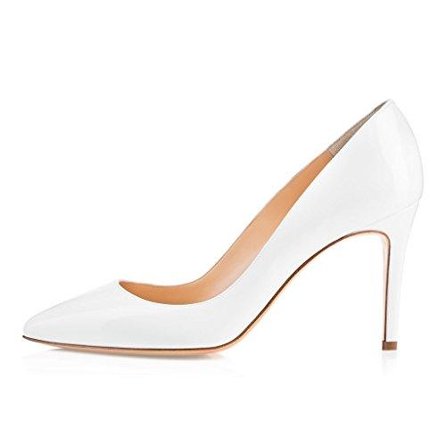 EDEFS Femmes Artisan Fashion Escarpins Classiques Elégants Pointus Chaussures à talon de 85mm Travail Bureau Noir Blanc