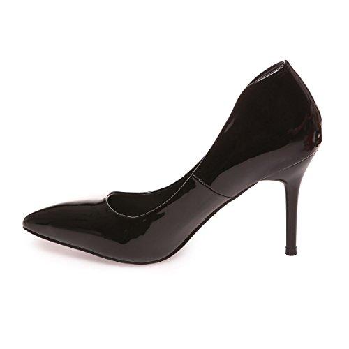 La Modeuse - Escarpins femme en simili cuir vernis Noir