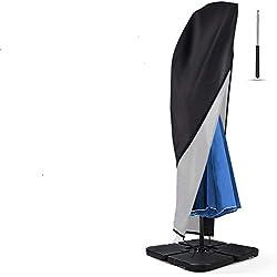 Housse de Protection Pour Parasol avec Une Tige Télescopique, Protection Couverture Parapluie en 420D Oxford Imperméable/Anti-Poussière/UV/Tempête de neige avec Fermeture à Glissière Sac de Rangement