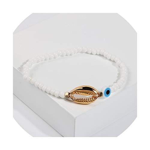 azalea store Gold Evil Eye Armband für Frauen Boho Shell-Armband Freundschaft Gypsy Handgemachte Wulstige Entwerfer-Armband-Geschenk für Mädchen, B7818