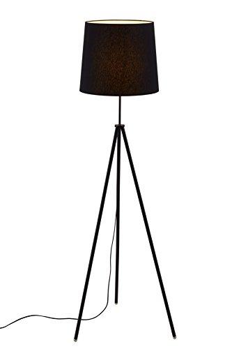 Briloner Leuchten Stehlampe, Wohnzimmerlampe Lampenschirm, Inkl. Schnurschalter, E27, Höhe: 139.5 cm, Metall, Schwarz, 60 x 60 x 139.5 cm