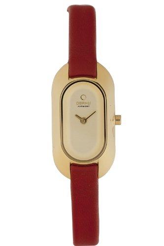 Obaku Harmony - V136L GGRR - Montre Femme - Quartz - Analogique - Bracelet cuir rouge