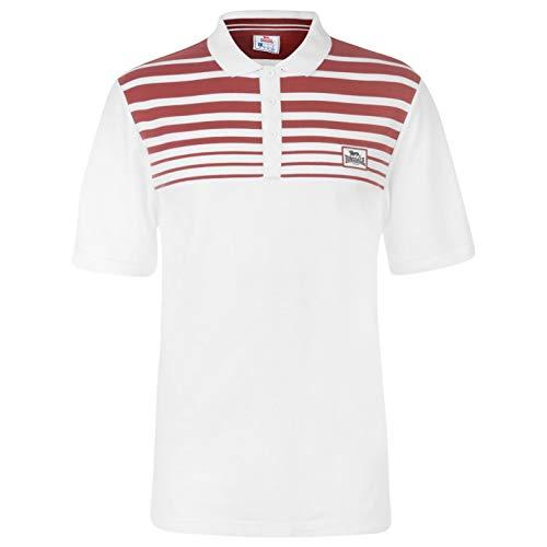Lonsdale Herren Yarn Dye Polo Shirt Klassisch Fit Streifen Weiß/Burgundy XL -