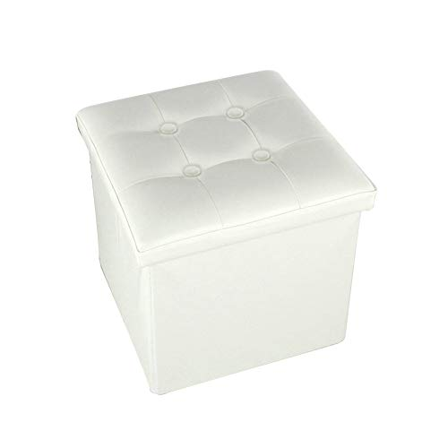 Love House Plegable Taburete de Almacenamiento, Cuero sintético Cubo