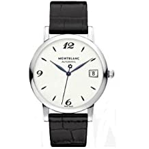 Montblanc Men' s 34mm Black Leather Band Steel case Automatic Watch 111590