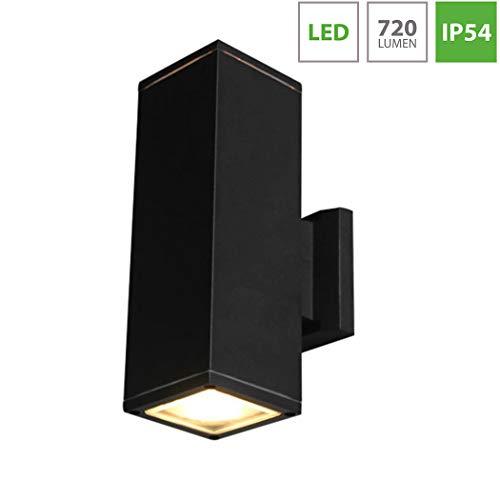 Wandlampe Up/Down Laterne, Schwarz Metall Aluminium Außenleuchte, IP54 Wetterbeständig Außenlampe, 6000K White Light Aussenlampe für Garten Garage Gang Terrassenwand Beleuchtung ()