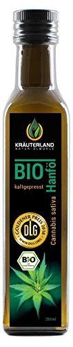 Kräuterland Bio Hanföl, Bio-zertifiziert, 250ml, kaltgepresst, 100% naturrein, rein nativ, Premium Qualität, Frischegarantie: mühlenfrisch direkt vom Hersteller Kräuterland