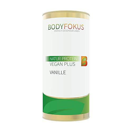 BodyFokus Natur Protein Vegan Plus - Hochwertiges Proteinpulver - Gute Löslichkeit - Pflanzliches Eiweißpulver - Hervorragendes Aminosäureprofil - Leckerer Vanillegeschmack