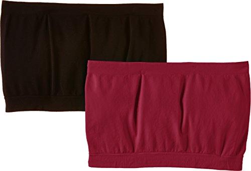 Luigi di Focenza Damen BH 1702, 2er Pack, Einfarbig Rot (bordeaux-schwarz 348/001)