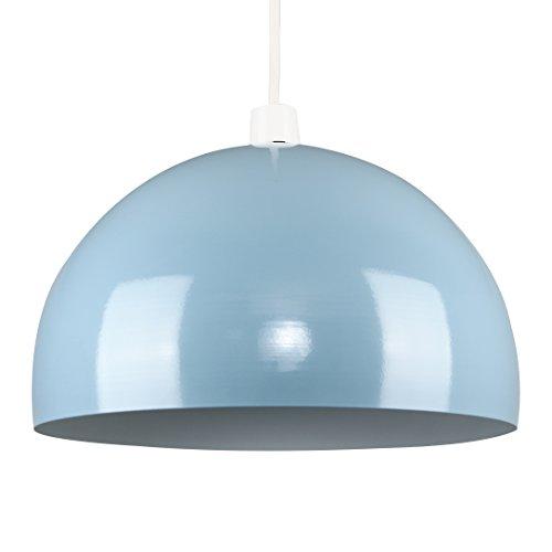 MiniSun – Kuppelförmiger und glänzender Lampenschirm aus hellblauem und weißem Metall – für Hänge- und Pendelleuchte