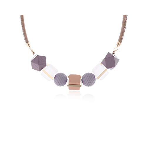Modeschmuck, Anhänger Halskette, Women Necklace Statement Necklaces & Pendants Wood Beads Necklace for Women Jewelry MX012 Purple