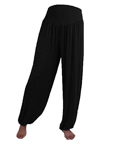 Donne Casuali Gamba Larghi Pantaloni Yoga Danza Sportivi Jogging Trousers Nero