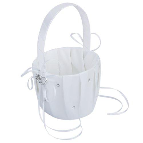 SODIAL (R) Blanco Saten doble corazon canasta nina de las flores de la boda de Crystal Rhinestone Decor
