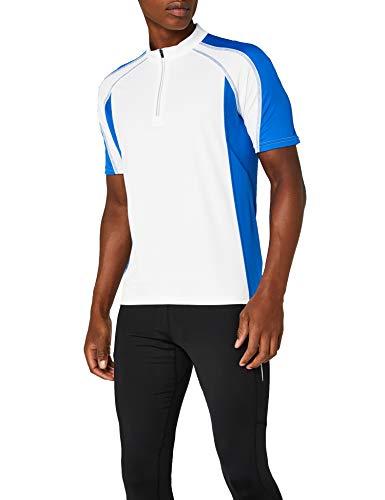 James & Nicholson Herren Kurzarm Bike T-shirt weiß (white/royal) Large -