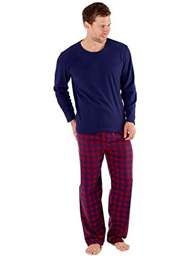 Harvey james–giacca termica in pile a quadri pigiama marina militare xl