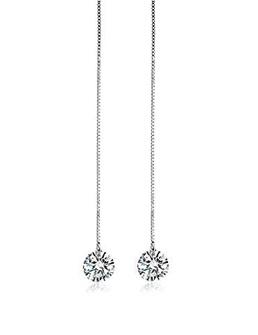 FANSING Schmuck 925 Sterling Silber Funkelnde Kristall Durchzieher Ohrringe für Damen Mädchen Weiß